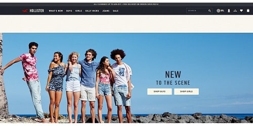 Homepage da Hollister